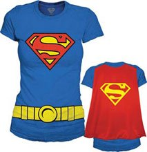 : Juniors DC Comics Supergirl Costume and Cape T-shirt