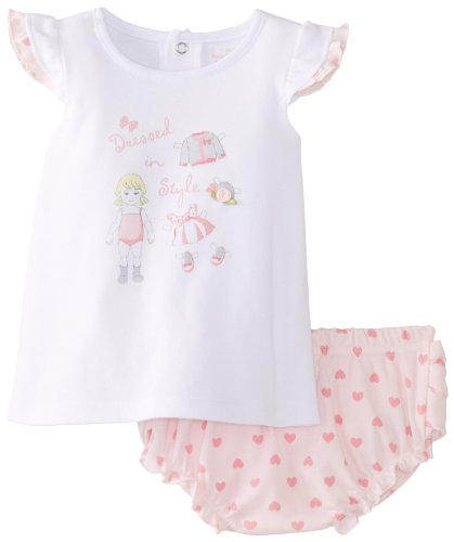 Kids Headquarters Baby-Girls Newborn White Top With Diaper, Pink, 3-6 Months front-630998