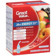 Great Value Energy Variety Pack Drink Mix, 20 count, 1.98 oz(Case of 2) (Great Value Grape Sugar Free compare prices)