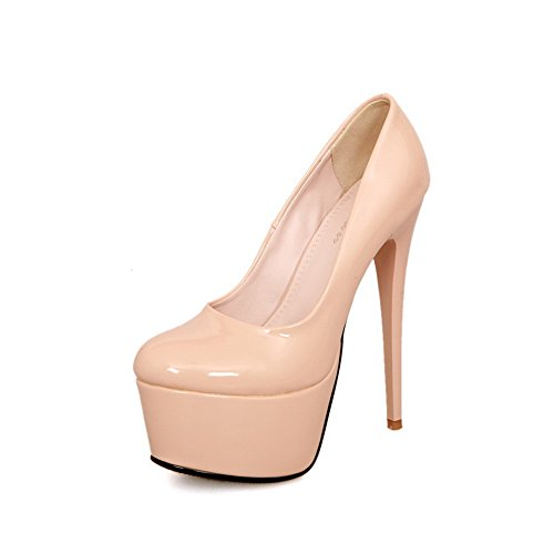 Vouge001 Womens Closed Round Toe High Heel Platform Stiletto Patent Leather Solid Pumps
