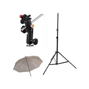 CowboyStudio Single Flash Shoe Swivel Bracket Kit with 1 Mounting Bracket, 1 Umbrella, and 1 Stand Stand