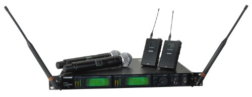 Shure Ur124D+/Sm58-G1 Wireless Combo Microphone System, Ur4D Dual Receiver, 2 Ur2 Transmitters, Sm58 Mic Heads, 2 Ur1 Transmitters, G1/470-530Mhz