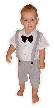 Baby Kleinkind jungen formalen Hochzeit Smoking Anzug Strampelanzug All-in-One in den Farben Grau, Schwarz und Marine Kind - 24 Monate