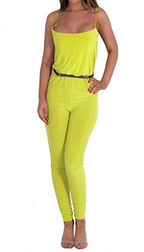 Womens Ariana Lime Green Spaghetti Strap Gold Belt Jumpsuit ((Us 4/6) Uk 8/10, Lime Green)