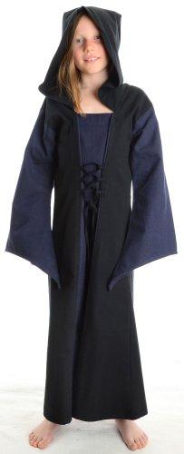 hemad-abito-medievale-per-bambine-con-lacci-e-pellegrina-blu-s-m-vestitio-con-cappuccio-in-cotone
