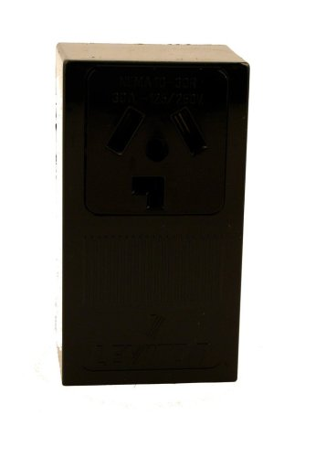 Leviton 5054 30 Amp, 125/250 Volt, NEMA 10-30R, 3P, 3W, Surface Mounting Receptacle, Straight Blade, Industrial Grade, Non-Grounding, Side Wired, Steel Strap, Black
