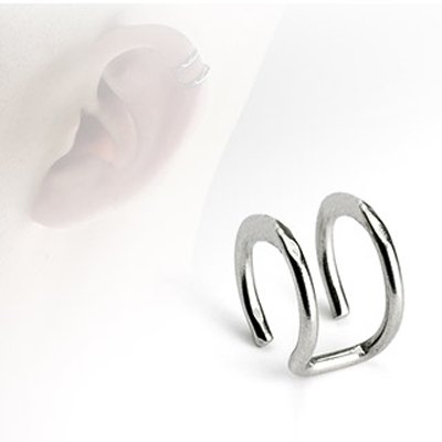Fake Cartilage Double Closure Ring, Stainless Steel Non Piercing Cartilage Earring 'Clip on' - 1 Piece