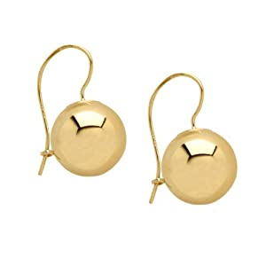 Duragold 14k Yellow Gold 12mm Ball on a Kidney Wire Earrings