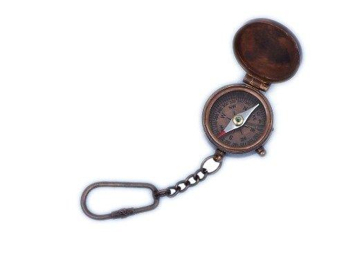 "Handcrafted Nautical Decor Antique Copper Compass Key Chain, 5"", Copper"