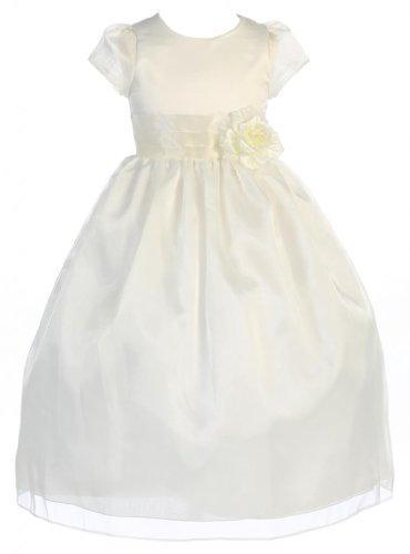 Wonder Girl Olivia Big Girls' Organza Tea Length Dress 2 Ivory