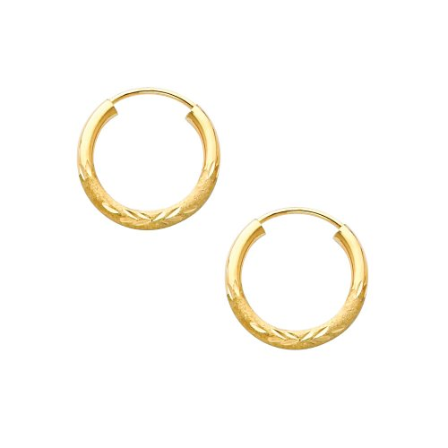 14K Yellow Gold 2mm Thickness Diamond Cut Satin/High Polished Elegant Endless Hoop Earrings (0.6