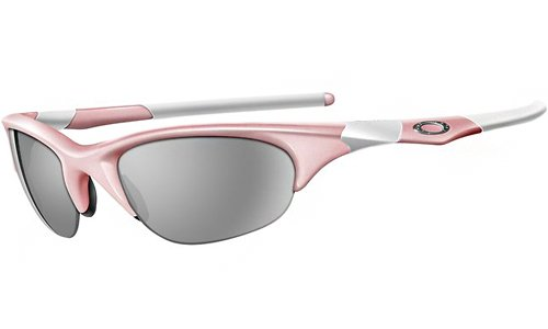 Oakley Women's Half Jacket Asian Fit Sunglasses (Pink Frame/Grey Lens)