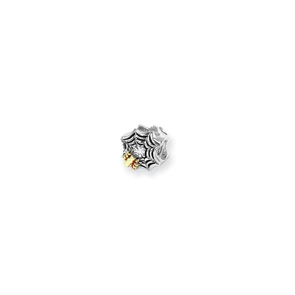 Two Tone Spider Web Charm for 3mm Charm Bracelets Jewelry