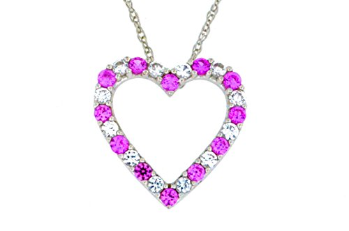 Created Pink Sapphire & White Sapphire Heart Shape Pendant .925 Sterling Silver Rhodium Finish (Elizabeth Jewelry Inc Sapphire compare prices)