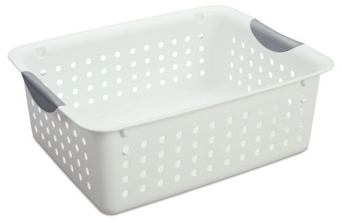 Sterilite 16248006 Ultra Basket with Titanium Inserts, White, 6-Pack