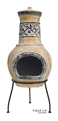 La Hacienda Medium Clay Leaf Chimenea - Yellow Brown 67035
