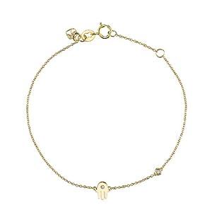 "Shy By Sydney Evan Sterling Silver Yellow Gold Plated ""Hamsa"" Bracelet with Diamond Bezel of 17.145cm"
