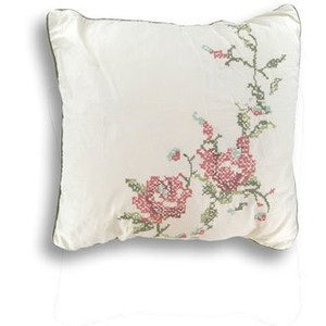 Laura Ashley Wakefield Embroidered Cross-Stitched Square Decorative Pillow, Floral front-867786