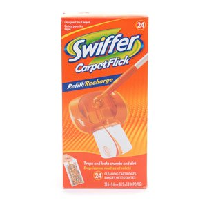 24 Refills - Swiffer CarpetFlick = One 24 COUNT Box Carpet Flick Refill Cleaning Cartridges