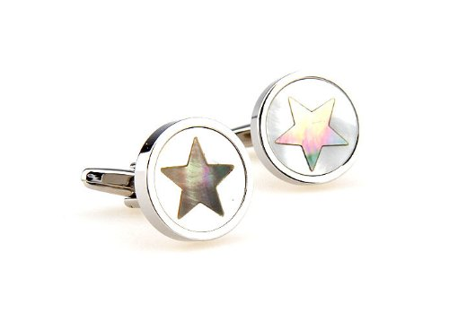 Round Puzzl Mother of Pearl Star Cufflinks