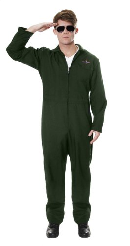 Mens Aviator Costume. A low cost Pilot Jumpsuit which is ideal for creating a Top Gun look. Add cheap aviator shades, dogtag.