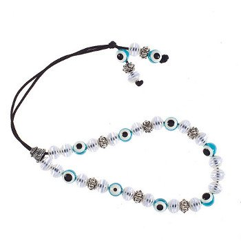 Evil Eye Worry Beads - Turquoise with White Striped Beads
