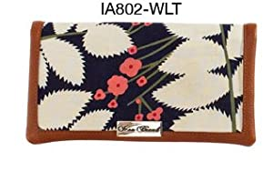 Icon77 Windy Hollows Zip Pocket Wallet - Fabric And Leather Wallet With Flower Design