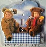 Anne Geddes Teddy Bear Switch Plate Baby Blue and White Gingham