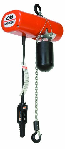 "Cm Lodestar H 2765Uc Electric Chain Hoist, Three Phase, Hook Mount, 1 Ton Capacity, 10' Lift, 8 Fpm Max Lift Speed, 0.5 Hp, 19-5/8"" Headroom, 1-1/8"" Hook Opening, 230/460V"
