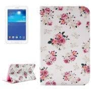 Floral Pattern Double Sided Print Leather Case with Holder Card Slots Wallet for Samsung Galaxy Tab 3 Lite 7.0 / T110 / T111