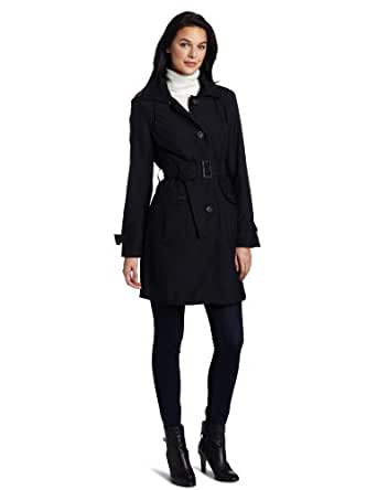 Ak Anne Klein Women's Hooded Single Breasted Trench Jacket, Black, Small