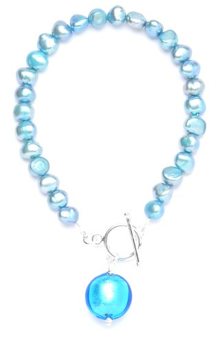 Amanti Venezia Blue Freshwater Pearl and Turquoise Genuine Murano Drop Bracelet with T-Bar of 20cm
