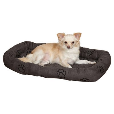Slumber Pet Polyester Embroidered Paw Print Dog Crate Bed, Large, Charcoal front-891985