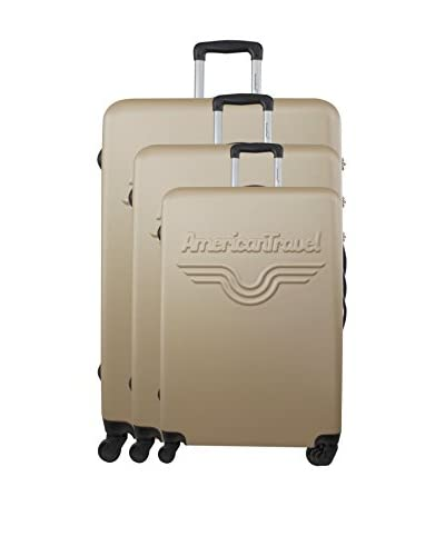 AMERICAN TRAVEL 3er Set Hartschalen Trolley Chelsea champagner