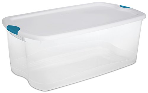 Sterilite 18898004 106 Quart/100 Liter Latch Box, White Lid with Clear Base and Blue Aquarium Latches, 4-Pack (Large Storage Containers compare prices)
