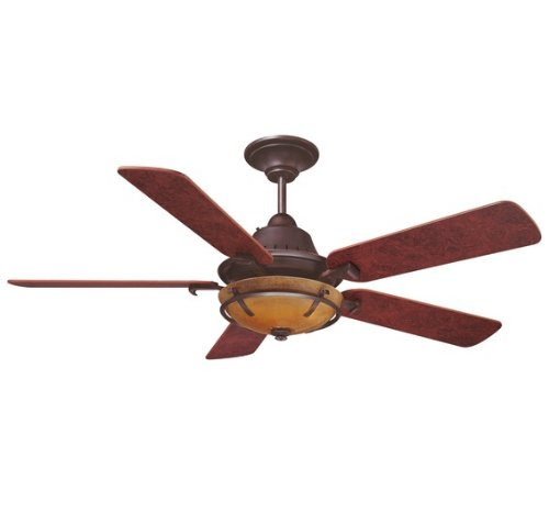 Savoy House 52P-620-5Bc-13 Big Canoe 52-Inch Ceiling Fan, English Bronze Finish With Burled Cherry Blades And Tea Stained Glass Shade