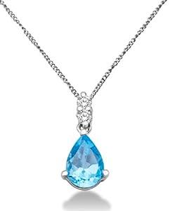 Miore - Collier Femme - Or blanc 375/1000 (9 carats) 0.98 gr - Topaze bleue et Diamants 0.06 cts