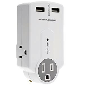 Mediabridge Portable Surge Protector with USB Chargers - 3 AC Outlets and 2.1A High-Output Dual USB Ports