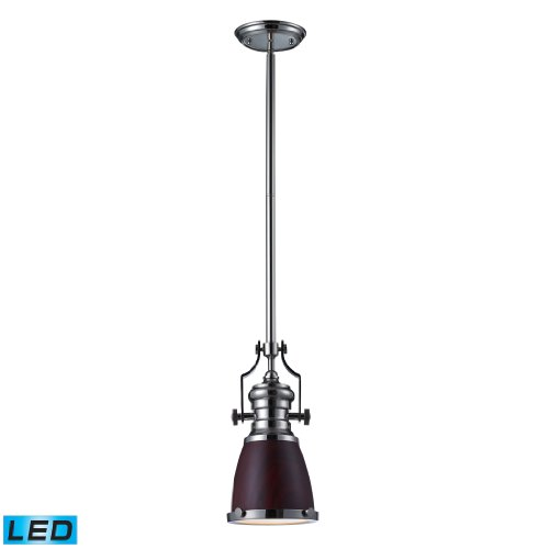 Chadwick 1 Light Pendant In Dark Walnut And Polished Nickel - Led Offering Up To 800 Lumens (60 Watt Equivalent) With Full Range Dimming. Includes An Easily Replaceable Led Bulb (120V).