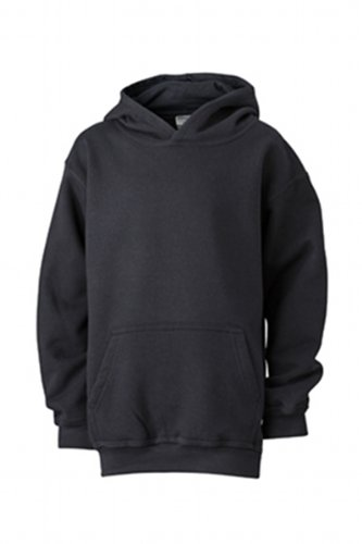 James & Nicholson - Sweatshirt Hooded, Felpa Bambino, Nero (black), (Taglia Produttore: L (134/140)