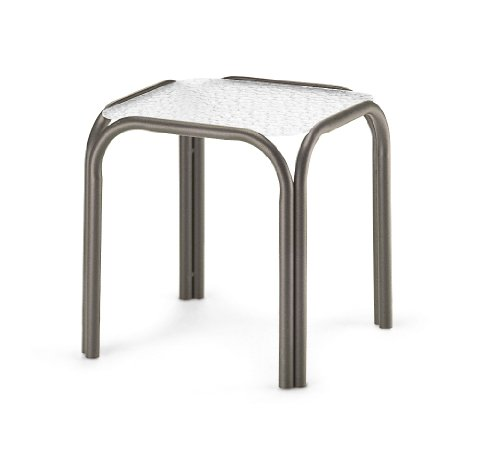 Telescope Casual Square Powdercoated Aluminum Acrylic End Table, 18.5-Inch, Textured Aged Bronze Frame Finish