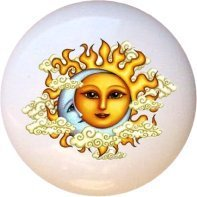 Celestial Sun Moon Clouds Drawer Pull Knob