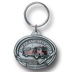 Pewter Key Ring - American Fire Fighter (Keychain Fire Emblem compare prices)