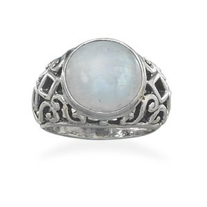 Sterling Silver Oxidized Moonstone Ring / Size 9