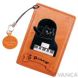 Cat on the Piano Leather Animal Pass/ID/Credit/Card Holder/Case *VANCA* Handmade in Japan