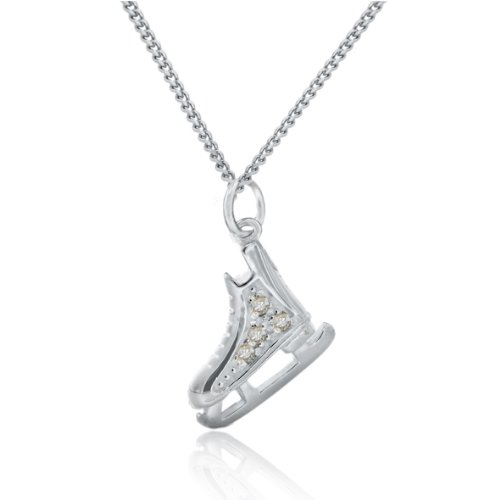 Dancing on Ice Sterling Silver Ice Skate  White
