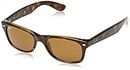 Ray-Ban New Wayfarer Sunglasses (RB2132) Yellow/Brown Plastic - Non-Polarized - 52mm