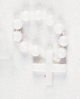 Finger Ring Rosary - White with Nylon - MADE IN ITALY