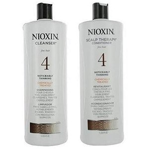 Nioxin System 4 Cleanser & Scalp Therapy for Fine Treated Hair Duo Set, 33.8 oz for each bottle