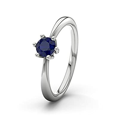 21DIAMONDS Erin Women's Ring Engagement Ring Round Brilliant Cut Blue Sapphire 9ct White Gold Engagement Ring